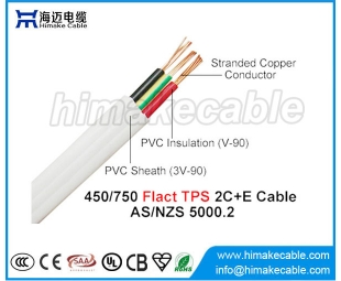 PVC insulated and sheathed PVC Flat TPS Cable 450/750V