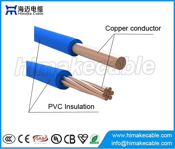 600v Copper Conductor Pvc Insulated Electric Cable Thw 75